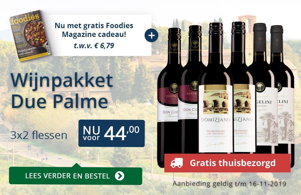 Wijnpakket Due Palme met gratis Foodies actie - blauw