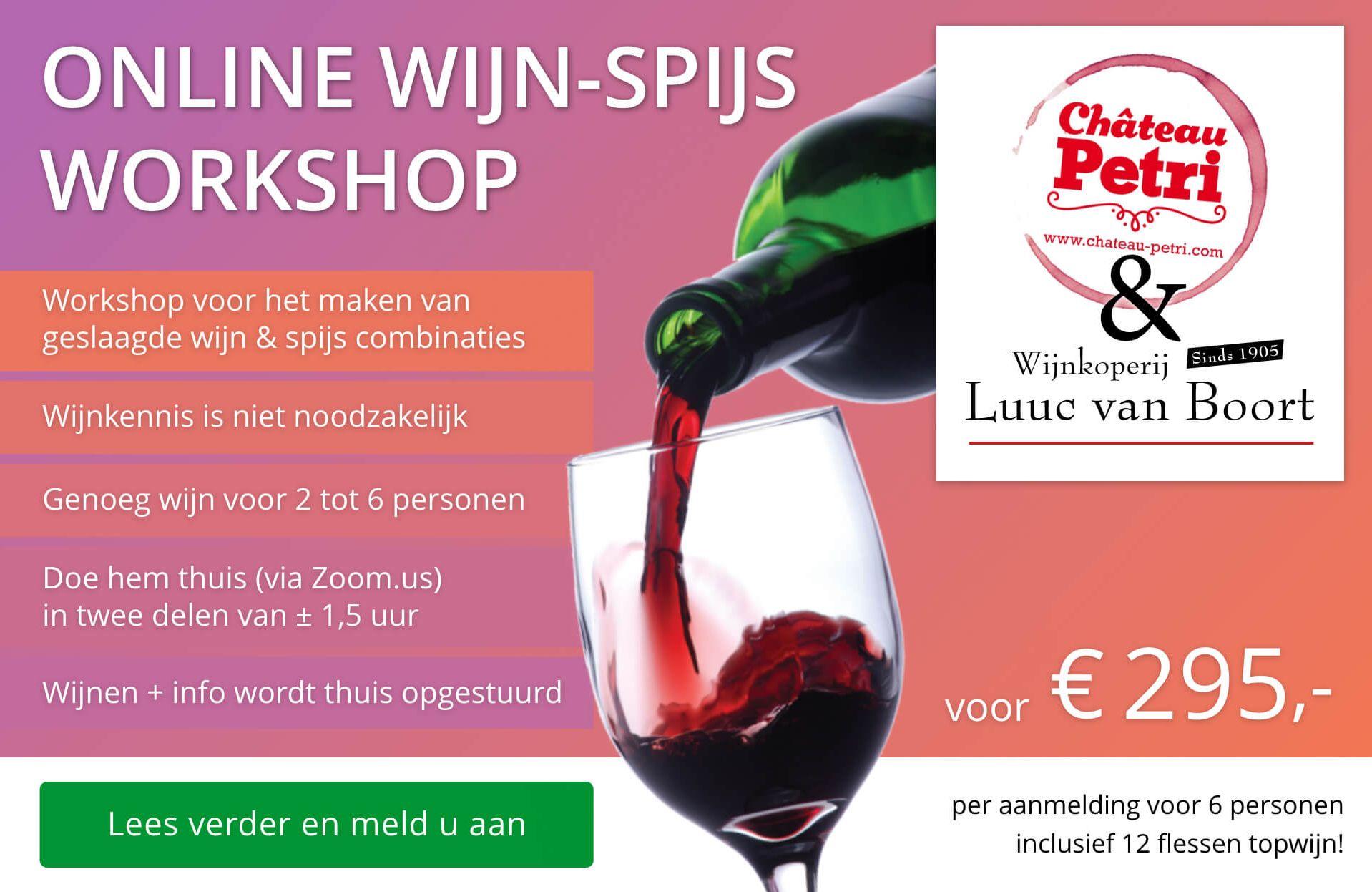 Online wijn-spijs workshop